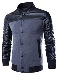 UP.YESS Men's Stand Coats & Jackets , Cotton Blend Long Sleeve Casual Pocket Fall