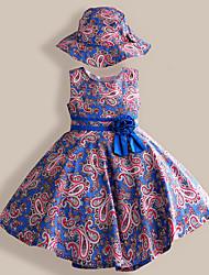 Girls Dress + Hat Royal Blue Flower Print Party Pageant Princess Dresses (Cotton)