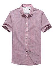 Men's Short Sleeve Shirt , Cotton Casual/Work/Sport Plaids & Checks