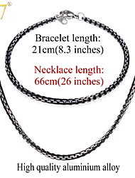 U7® Men's New Trendy Cool Black Necklaces Bracelets Sets High Quality Mens Chains 3MM 26'' Box Link Chains Jewelry Sets