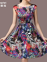 Women's Multi-color Dress , Print Short Sleeve