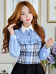 DABUWAWA Women's Bodycon/Print/Work Shirt Collar Long Sleeve Tops & Blouses (Cotton/Nylon)