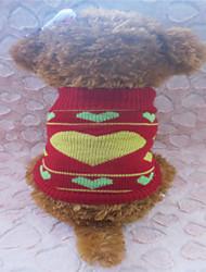 Súeters - Inverno - Vermelho Mistura de Material - para Cães - XS / S / M
