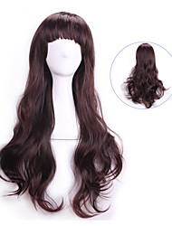 Ladies Dark Brown Wavy Curly Sexy Pelucas Natural Realistic Wigs Cosplay Wigs Perruque Cheap Synthetic Hair Wigs Bangs