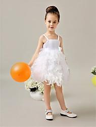 Flower Girl Dress Tea-length Satin Ball Gown Sleeveless Dress