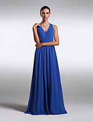 Lanting Bride Floor-length Chiffon Bridesmaid Dress - Lace-up Sheath / Column V-neck Plus Size / Petite with
