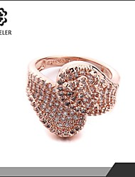Sjeweler Girls Latest Style Engagement Rose Gold Plated Zircon Ring
