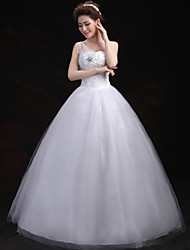 Ball Gown Wedding Dress Floor-length One Shoulder Tulle