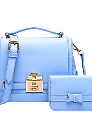 Women PU Flap Shoulder Bag / Tote - Pink / Blue / Black