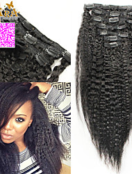 Italian Coarse Yaki Clip In Human Hair Extensions Kinky Straight 6A Brazilian Virgin Hair Straight 100% Human Hair