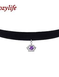 "Cozylife 3/8"" Womens Girls Black Velvet Gothic Collar Vintage Choker Necklace S925 Sterling CZ Diamond Crown Pendant"