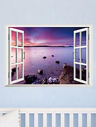 3d наклейки стены стиль наклейки творческий фиолетовый пляж наклейки ПВХ стены