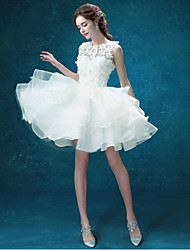 A-line Wedding Dress - Chic & Modern Little White Dresses Short / Mini Jewel Organza / Tulle with Appliques / Beading