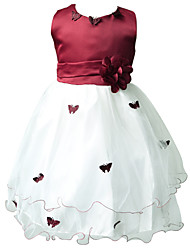 Sheath/Column Knee-length Flower Girl Dress - Nylon Taffeta Sleeveless