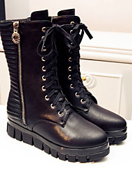 Women's Shoes Leather Platform Fashion Boots/Motorcycle Boots Boots Outdoor/Casual Black