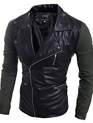 Men's  Large Lapel Slim PU  Jacket