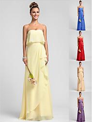 Vestido de Dama de Honor - Narciso Corte Recto Strapless - Hasta el Suelo Gasa Tallas grandes