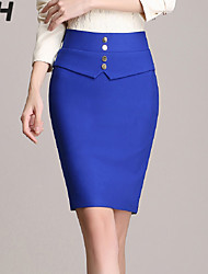 Women's Bodycon/Work Above Knee Skirts , Spandex/Polyester Micro-elastic /Random button