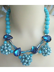 New Fashion Austrian Crystal Turquoise Tear Drop Flower Statement Necklace, Summer Statement Bib Bubble Necklace