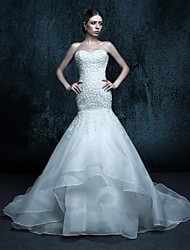 Trumpet/Mermaid Chapel Train Wedding Dress - Sweetheart Organza