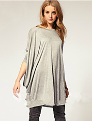 SUNNY  Women's Round Pleated T-Shirts , Cotton Casual/Party/Work Long Sleeve