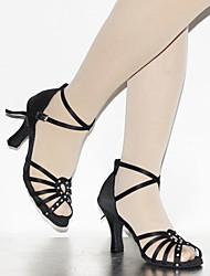 Customizable Women's Dance Shoes Latin Leather Flared Heel Black