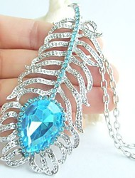 Pretty Peacock Feather Necklace Pendant With Blue Rhinestone crystals