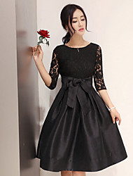 Women's Round Dresses , Cotton Blend Casual ¾ Sleeve life