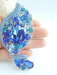Gorgeous 4.33 Inch Silver-tone Blue Rhinestone Crystal Flower Brooch Women Jewelry Art Deco