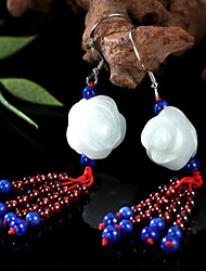 Roses Match Garnet and Lapis Lazuli Natural Jade 925 Silver Hook Earrings