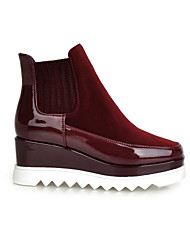 Women's Shoes Fleece/Patent Leather Wedge Heel Wedges/Fashion Boots/Square Toe Boots Dress/Casual Black/Red/Burgundy