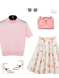 Women's Pink Set , Crew Neck Short Sleeve