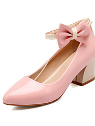 Women's Shoes Patent Leather Chunky Heel Heels/Round Toe Pumps/Heels /Party & Evening/Dress/Casual Black/Blue/Pink/Beige