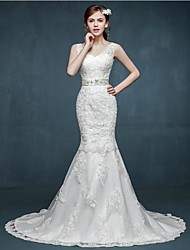 Trumpet / Mermaid Wedding Dress Sweep / Brush Train V-neck Lace