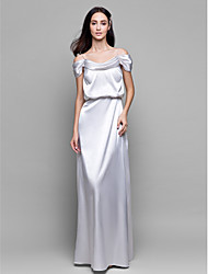 Lanting Bride® Floor-length Satin Chiffon Bridesmaid Dress - Sheath / Column Spaghetti Straps with