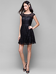 Lanting Short/Mini Lace Bridesmaid Dress - Black A-line Scoop