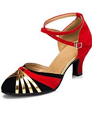 Non Customizable Women's Dance Shoes Salsa Flocking Cuban Heel Red