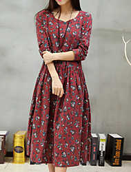 Women's Round Neck Flower Dress , Polyester Cotton Blends Midi Long Sleeve