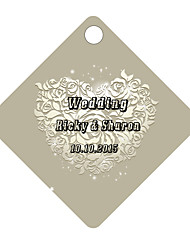 Personalized Rhombus Wedding Favor Tags - Gray Design (Set of 36)