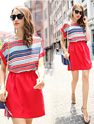 Women's Striped Red Dresses , Party Round Short Sleeve