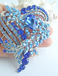Gorgeous 3.15 Inch Silver-tone Blue Rhinestone Crystal Love Heart Brooch Art Deco