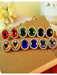 Retro Ellipse Emerald Gem Diamond Earrings Vintage Gemstone & Crystal Stud Earrings