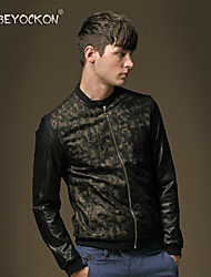 Men's fashion leather stitching camouflage jacket,The slim casual PU skin set tide