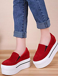 Women's Shoes Fabric Platform Creepers / Comfort / Round Toe Slip-on Outdoor Black / Red / Gray