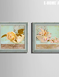 E-HOME® Framed Canvas Art, The Flowers on The Bowl Framed Canvas Print Set of 2