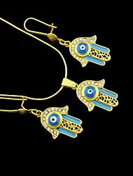 Oro verdadero 18k plateó hamsa mano de fátima mal de ojo de cristal collar + pendientes de la joyería de