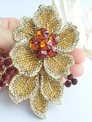 Gorgeous 3.54 Inch Gold-tone Topaz Rhinestone Crystal Flower Brooch Art Decorations