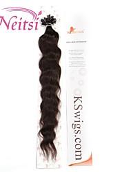 "neitsi 20 ""1g / s de fusión queratina u clavar onda natural de punta 100% negros extensiones de cabello humano 2 #"