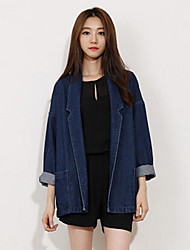 Women's Brief Turn-down Collar Jeans Coat