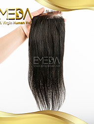 "8""-20"" Brazilian Virgin Hair Straight Lace  Closure Color (Natural Black) Baby Hair for Black Women"